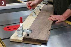 Woodworking Jigs Table saw straight edge jig. Table saw jig to put a straight edge on a rough cut non-straight edged board. Essential Woodworking Tools, Best Woodworking Tools, Woodworking Techniques, Woodworking Crafts, Woodworking Furniture, Youtube Woodworking, Cardboard Furniture, Rockler Woodworking, Woodworking Classes