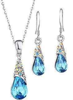 Neoglory Blue Tear Water Crystal Drop Jewelry Set Necklace Earrings with French Wires 17 * Check out the image by visiting the link.-It is an affiliate link to Amazon. #WeddingEarrings