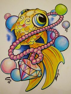 Bubblefish original tattoo design by Liz Venom from Bombshell Tattoo in Edmonton. www.bombshelledmonton.ca