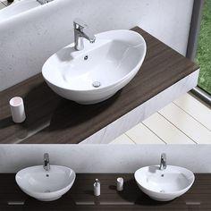 Contemporary Bathroom Ceramic Basin Vessel Wash Sink Oval 590mm x 390mm New B19