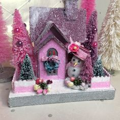 Putz House Glitter House(Small) in Pink with Snowgirl ! by glitteratmidnight on Etsy https://www.etsy.com/listing/608163261/putz-house-glitter-housesmall-in-pink