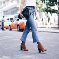 Jeans: tumblr kick flare cropped bootcut cropped bootcut blue boots brown boots thick heel block