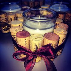 Burgundy Wine Cork Candles for weddings by ChicEventsAndDesigns
