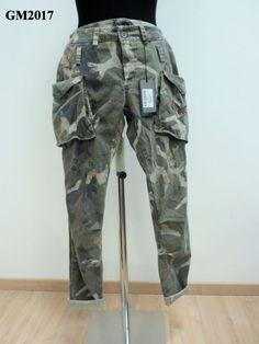 Pantalone in dril di cotone mimetico