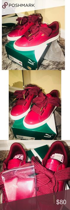 NWT - Lacquered Puma Sneakers ✨✨BRAND NEW ✨✨ Beautiful light burgundy / pinkish colored sneakers  Size:7.5 (Fits more like an 8) Comes with some gorgeous shiny laces that you can change from the regular thick ones the shoes come with - SUPER comfortable as well -  Perfect with shorts, skirts, leggings, sweats, and jeans ....  A MUST have in your wardrobe !! Puma Shoes Sneakers
