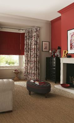 Red can become an eye catching focal point into your room. Add touches of white . Red can become a Red Curtains Living Room, Red Living Room Decor, Cream And White Living Room, Cream Living Rooms, Room Color Schemes, Room Colors, Livibg Room, Red Blinds, Front Rooms