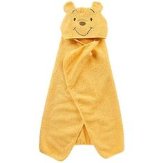 Bathtime is bonding time for you and your baby. Keep your little hunny warm and cozy after her bath with the Winnie the Pooh hooded towel. An embroidered Pooh decorates the hood and the body is all yellow. The 100% cotton terry cloth towel coordinates with other Winnie the Pooh bathtime accessories.
