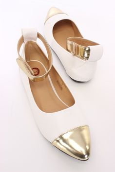 Slip into these adorable flats with your next lovely outfit! Make sure to add these to your collection, it definitely is a must have! The features include a faux leather upper with a metallic pointed closed toe, metallic ankle strap with a hook and loop closure smooth lining, and cushioned footbed.