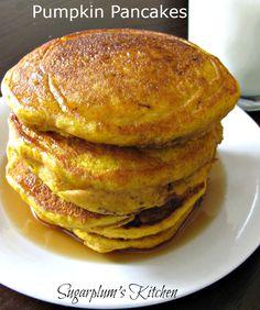 These pumpkin pancakes taste amazing!  Sugarplum's Kitchen
