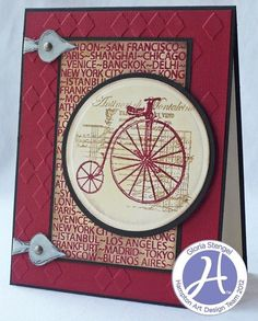 Bicycle Card by @Gloria Mladineo Stengel for Hampton Art featuring @7gypsies and @Clearsnap Inkpads Inkpads