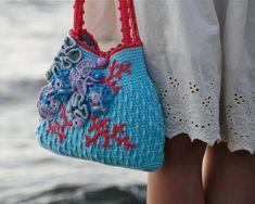 Embellished Crochet Purse Aqua   PDF by PatternsbyMarianneS