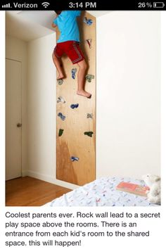 Cool idea, although safety is one thought here. Maybe altered a bit, but I love the idea of a secret passageway of sorts from all kids' bedrooms into one shared room.