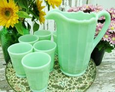 Mosser Glass Jade Pitcher and Tumbler