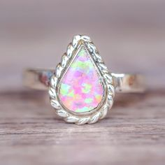 Zuni Tear Drop Pink Opal Ring | Bohemian Jewelry | Indie and Harper