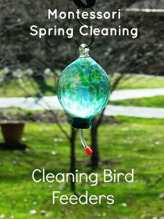 Cleaning Bird Feeders by Marie Mack at Montessori on a Budget Blog