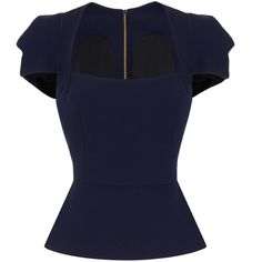 Roland Mouret Galaxy Top (€1.080) ❤ liked on Polyvore featuring tops, blouses, shirts, navy, nebula shirt, navy blue peplum top, blue top, navy blouse and navy peplum top