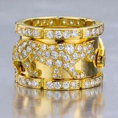 CARTIER Diamond Panther Yellow Gold Ring (France, circa 1980s) | 1stdibs