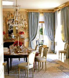 45 Elegant, Classy And Feminine Perfectly Stylish Ideas For Dining Room Design Elegant Dining Room, Dining Room Design, Dining Room Curtains, Dining Rooms, Dining Table, Interior Decorating, Interior Design, Beautiful Interiors, Provence