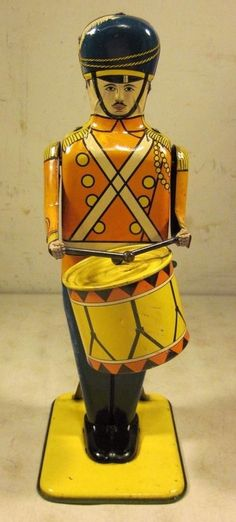 Vintage Antique 1930's Wolverine #27 Drum Major Wind Up Tin Litho Toy USA  #Wolverine