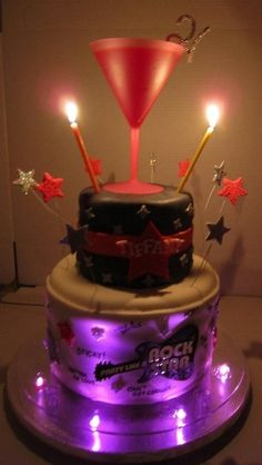 Party Like a 21 yr old Rock Star!  With the lyrics of Pour Some Sugar On Me written around the bottom tier.