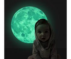 Plafonra, falra ragasztható fluoreszkáló, világító hold - 30 cm átmérőjű