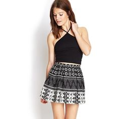 Forever 21 Tribal Print A-Line Skirt ($14) ❤ liked on Polyvore featuring skirts, black skirt, high waisted skirts, forever 21, full length black skirt and black a line skirt