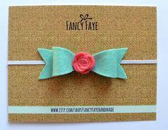 Felt Bow Baby Girl Headband Felt Rose Mint by FancyFayeHandmade