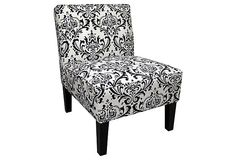 Grant Armless Chair, Black/White on OneKingsLane.com