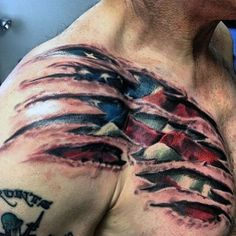 Ripped Skin Guys Bald Eagle And American Flag Tattoos On Chest #tattoosmenschest
