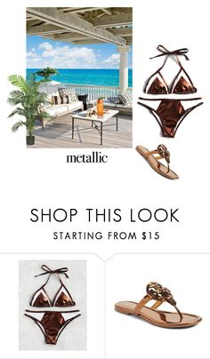 """METALLIC SWIMWEAR"" by ashleyyjames ❤ liked on Polyvore featuring Tory Burch and Nearly Natural"