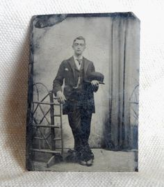Tin Type Man in suit and bowler hat.