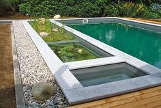 Bio-pool with small planting area, under it there is a gravel filter which contributes to water purification.