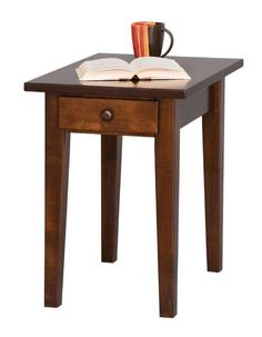 Amish Handcrafted Shaker End Table These Shaker End Tables are shown in brown maple wood with a rich tobacco stain.Create contrast in your living room by pairing them with a light colored coffee table. Family Room Furniture, Amish Furniture, Woodworking Furniture, Sofa Table With Drawers, Shaker Style Furniture, Small End Tables, Solid Wood Coffee Table, Furniture Collection, Living Room Designs