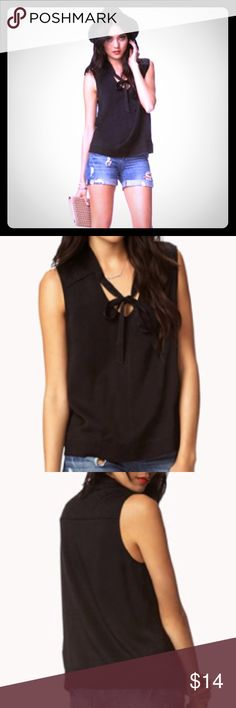 Quilted Tie-Front Top - Forever 21 - size S black Worn once. Excellent condition. Love21 (Forever 21's contemporary line). Quilted texture. Size small. Forever 21 Tops Tank Tops