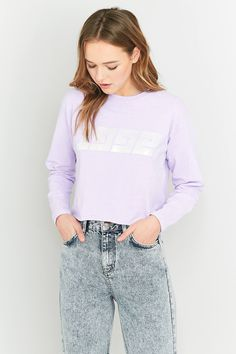 Slide View: 3: Light Before Dark 1992 Lilac Cropped Long Sleeve T-shirt