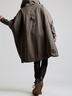 Resin Cotton Lycra Oversize Coat with Faux Lamb Fur Lined by LURDES BERGADA