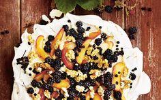 Blackberry, apple and walnut meringue