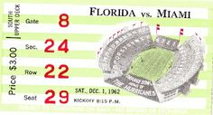 1962 FLORIDA vs. MIAMI FOOTBALL ticket art made from an authentic '62 football ticket. Terrific Father's Day Gift!