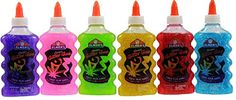 Elmer's Washable Glitter Glue, 6 oz Bottles, Green/Pink/Purple/Red/Yellow/Blue Bundled with a of Crayola Cello Wrapped Crayons Elmer's Glitter Glue, Glitter Jars, Glitter Slime, Glitter Bomb, Slime No Glue, Slime Craft, Borax Slime, Calming Bottle, Cool Slime Recipes