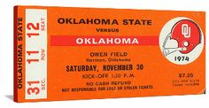 Oklahoma football art. The best Oklahoma football gifts made from authentic Oklahoma football tickets. http://www.shop.47straightposters.com/