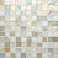 "Oceanside Glasstile...Collection Name: Tessera...Color Name: Crème Brulee...Components: Oxygen Irid, ...Components:  Sandstone Irid, ...Components:   White Irid...Item Description: 1 x 1 Field...Square Feet Per Sheet: .96...Sheet Size: 11 3/4"" x 11 3/4""...Thickness: .24""...Sample Item Number: 16013"
