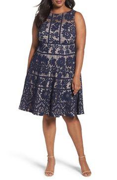 Main Image - London Times Flower Bloom Lace A-Line Dress (Plus Size)