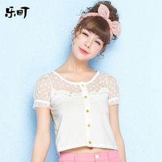乐町2014春装新款女装甜美圆领短袖开衫短款蕾丝衫上衣C1BB32324-tmall.com天猫