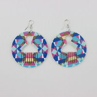 Brazilian Night Club Personality Hip Hop Earrings Jewelry Wooden Hollow Out Circular Comb Stud Earrings For Girl Nice Gifts E645