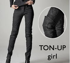 TON-UP girl OMG protective riding pants that aren't unflattering and bulky? They even make some that are lined with Kevlar but still look like normal jeans! This is one of the greatest websites I've ever pinned. Style:TON-UP girl-very cool urban riding Motorcycle Women, Motorcycle Jeans, Biker Gear, Motorcycle Outfit, Biker Pants, Womens Motorcycle Fashion, Motorcycle Clothes, Female Motorcycle Riders, Biker Fashion