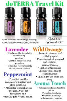 doTERRA Travel Kit. Aromatouch, lavender, wild orange, peppermint. Great introduction or starter kit.