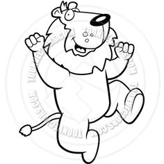 Lion Jumping (Black and White Line Art)