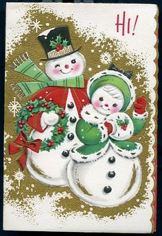 Digital DownloadVintage Christmas Card with Snowman by lollybine