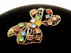 Antique Brooch Rhinestone Brooch Bow Pin by PrettyShinyThings4U