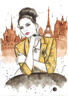 Print from Original Watercolor Fashion Illustration Modern Art Painting titled My French Morning.